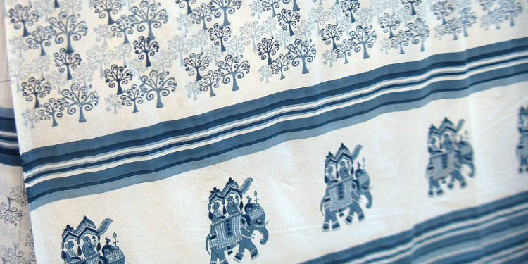 Blue hand-printed tablecloth